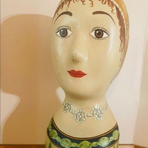 Hand Painted Milliner's Bust Hat Model Mannequin